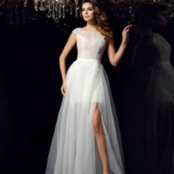 chicregina-floor-length-a-line-princess-short-sleeves-scoop-tulle-dress-with-pleats