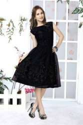 Black Embroidered Net Kurti