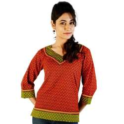 ETHNIC HAND BLOCK PRINT RED GREEN COTTON TOP